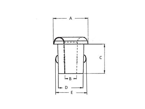 Nylon Split Ring Grommet Dimension Diagram