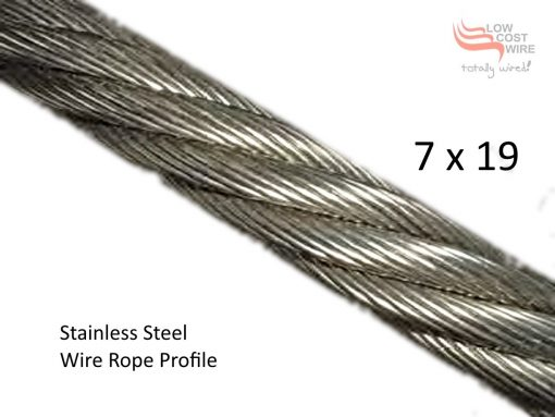 7x19 Stainless Steel Wire Rope Close up Profile