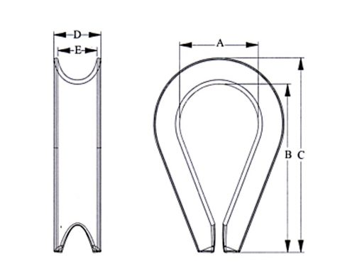 Stainless Steel Wire Rope Thimble Dimensional Diagram