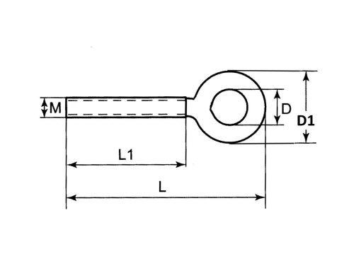 Mini Eye Bolt G316 Stainless Steel Dimension Diagram