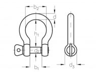 G316 Stainless Steel Bow Shackle Dimension Diagram