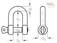 G316 Stainless Steel D-Shackle Dimension Diagram