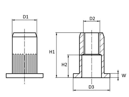Large Flange Stainless Steel Nutsert Diagram ( Rivet Nut Rivnut )