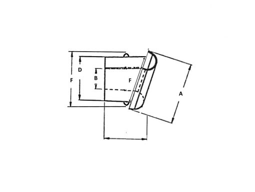Angled Nylon Split Ring Grommet Dimension Diagram