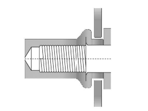 Large Flange Stainless Steel Nutsert Installation Diagram