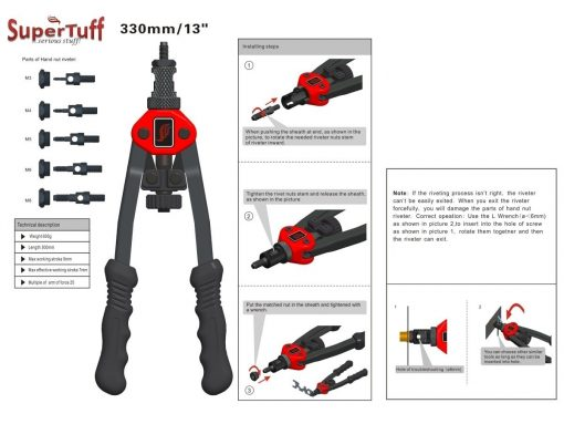 Heavy Duty Rivet Nut Installation Tool with M3, M4, M5, M6, M8, M10 Mandrels_LR