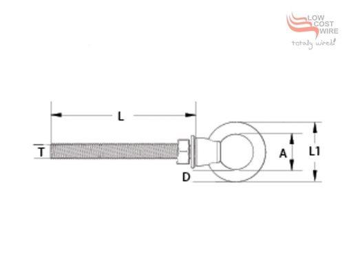 Eye Nut Bolt Dimension Diagram
