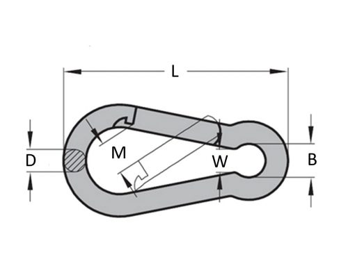 G316 Stainless Steel Snap Hook Dimension Diagram