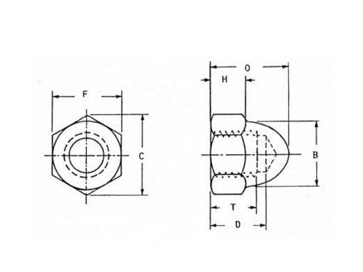 Acorn Nut Dimensional Diagram