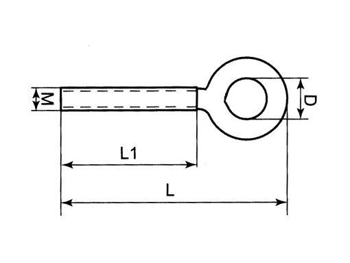 Threaded Eye Bolt Dimension Diagram