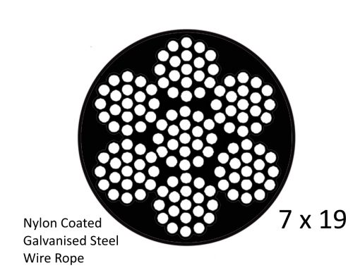 7X19 Nylon Black Coated G2070 Steel Wire Structure