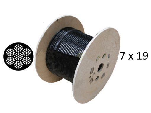 Black Nylon Coated 7x19 Galvanised Wire Rope