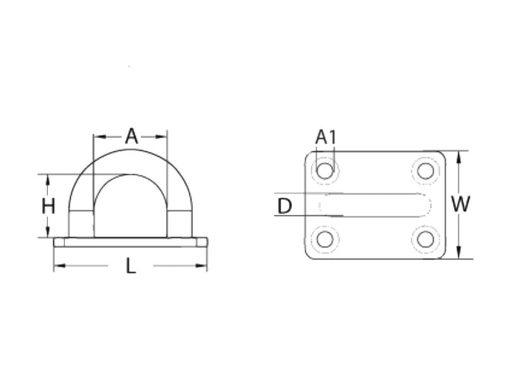 Rectangular Eye Plate Dimensional Diagram