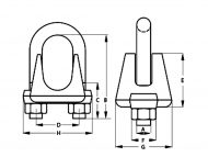 Wire Rope Grip Dimension Diagram