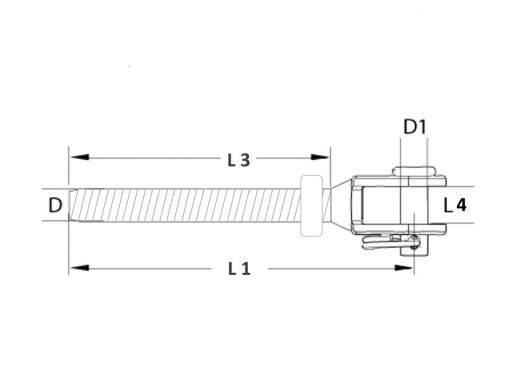 Threaded Fork Terminal Dimension Diagram