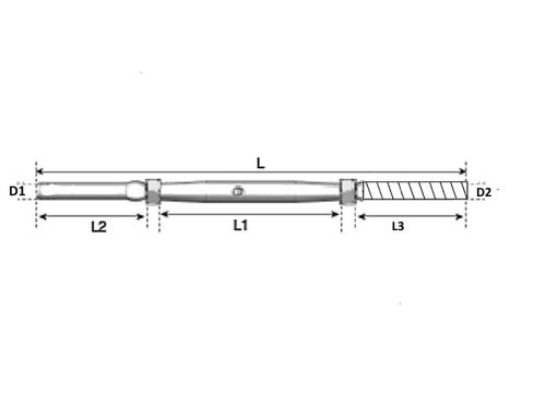 Bolt Swage Rigging Screw Dimension Diagram