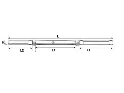Through Bolt Swage Rigging Screw Dimension Diagram