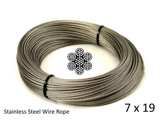 7x19 G316 Stainless Steel Wire Rope Coil with Structure and Size