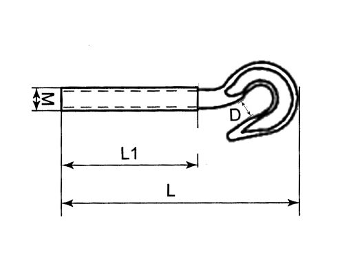 Threaded Hook Dimension Diagram