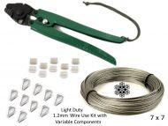 1.2mm 7x7 G316 Wire Coil with Swages, Thimbles and a Light Duty All-in-1 Swaging Tool