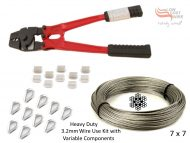 3.2mm 7x7 G316 Wire Coil with Swages, Thimbles and a Heavy Duty All-in-1 Swaging Tool