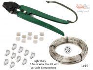 0.8mm 1x19 G316 Wire Coil with Swages, Thimbles and a Light Duty All-in-1 Swaging Tool