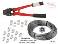 2.0mm 7x19 G316 Wire Coil with Swages, Thimbles and a Heavy Duty All-in-1 Swaging Tool